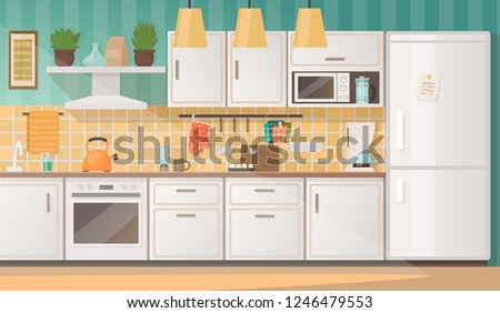 Interior of a cozy kitchen with furniture and appliances. Vector illustration in flat style. Royalty-Free Stock Photo #1246479553