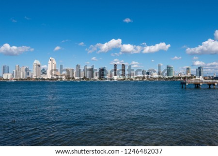 San Diego,California / U.S.A - January 2018 : San Diego Skyline at daytime. San Diego is a city in the U.S. state of California and is the eighth-largest city in the United States. #1246482037
