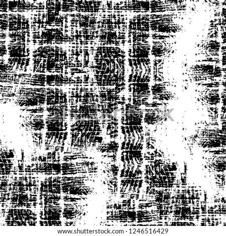 Grunge overlay layer. Abstract black and white vector background. Monochrome vintage surface with dirty pattern in cracks, spots, dots. Old painted wall in dark horror style design #1246516429