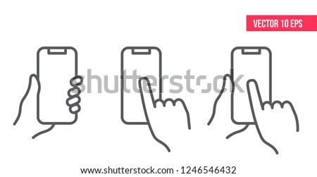 Mobile Phone Line Icon. Hand holding smartphone. Smartphone with white screen vector eps10.