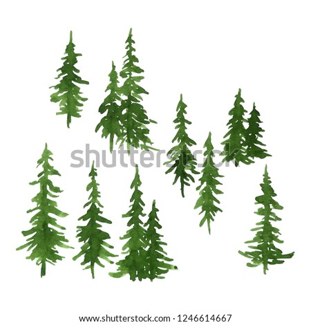 Watercolor set of green pine trees for Christmas and New Year decoration