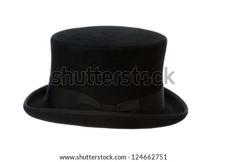 side view of a traditional felt top hat isolated on white background #124662751