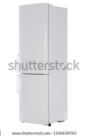 Modern refrigerator isolated on white background #1246636963