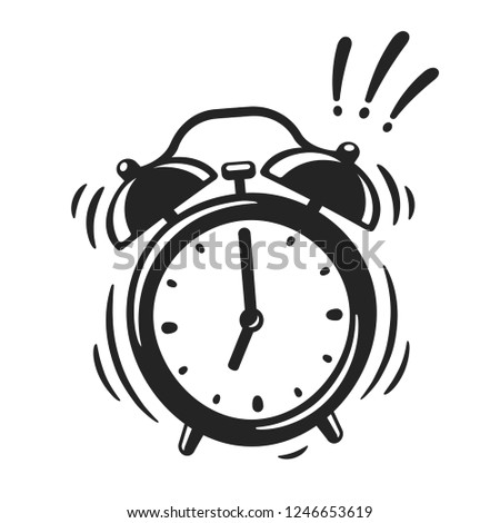 Hand drawn alarm clock ringing, black and white icon or logo. Retro style cartoon clock illustration, vector clip art drawing.