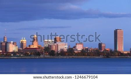 The Buffalo city center at twilight