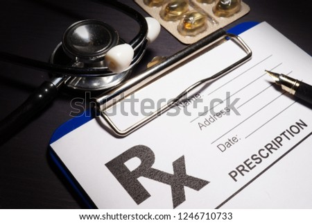 Prescription form and medicines. Health care and drugs. #1246710733