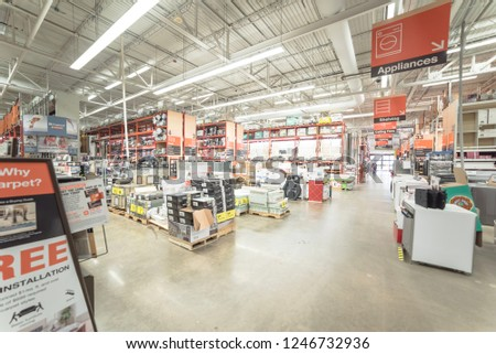 DALLAS, TX, US-DEC 1, 2018: Inside Home Depot store, American home improvement supplies retailing company that sells tools, construction products, and services #1246732936