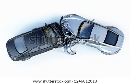 Car accident. Generic cars crashed. Silver sport car crashed against a black sedan, viewed from the top. Isolated on white background. Royalty-Free Stock Photo #1246812013