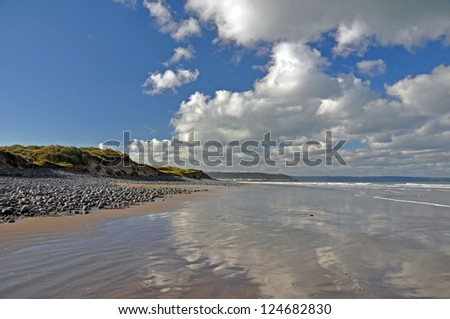 Reflections, Westward Ho, Devon, England Royalty-Free Stock Photo #124682830
