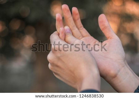 Young woman with pain on finger  #1246838530
