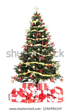 Christmas tree with decorations and gift boxes isolated on white background #1246986169