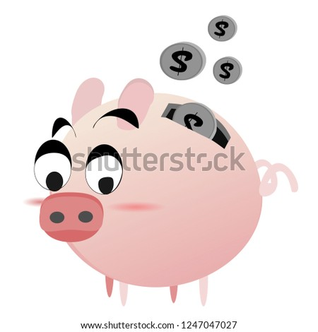 Icon piggy bank and money. flat  illustration isolated on white background. The concept of saving money, investment ,banking or business service. Cute animal clip art cartoon character.