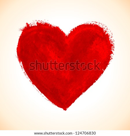 Hand-drawn painted red heart, vector element for your design #124706830