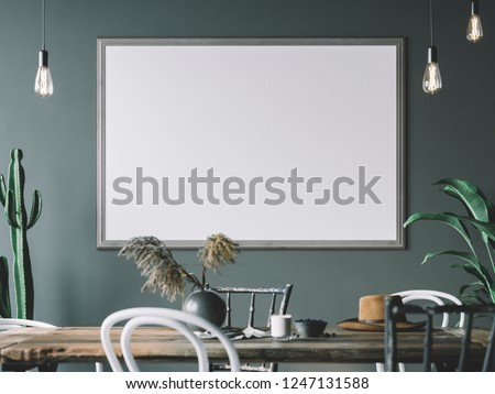 Frame mockup in interior. Cozy interior with empty poster frame.