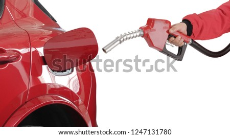 Gasoline pistol pump gun fuel nozzle and car on gas station #1247131780