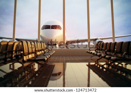 Airplane, view from airport terminal. Royalty-Free Stock Photo #124713472
