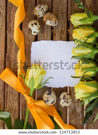 invitation card with yellow roses and eggs #124713853