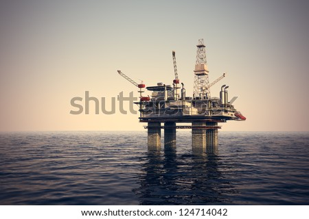 Image of oil platform while cloudless day. #124714042