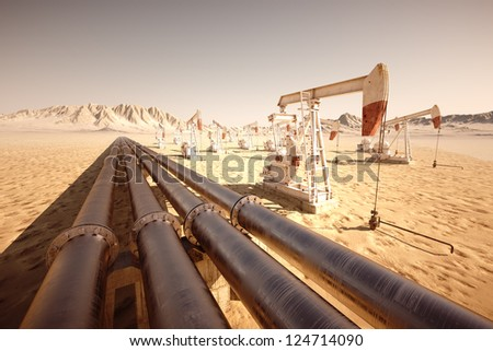 Oil pump jack rocking with pipeline in the background.