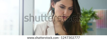 Adult beautiful happy smile fashion businesswoman customer indian busy management practice vendor standing at office workplace. Hold folder with statistic paper draft dispatch in hands #1247302777
