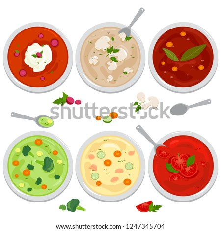 Bowls of soup with vegetables, mushrooms, chicken, Russian borscht soup, tomato and lentil soup. Vector illustration. Top view. #1247345704