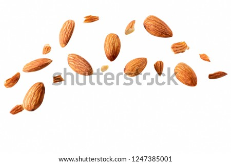 Closeup of fly almonds,  isolated on the white background Full depth of field. #1247385001