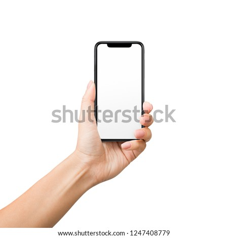 App, video, game design presentation. Woman holding mobile phone with blank screen isolated on white background #1247408779