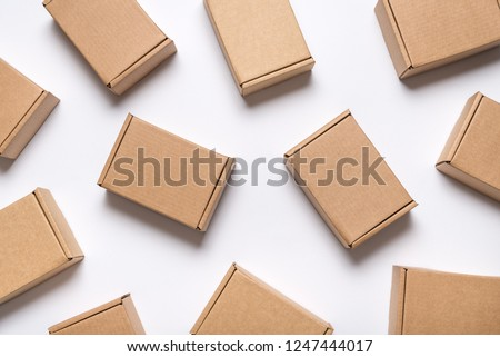 Lot of cardboard boxes on white background Royalty-Free Stock Photo #1247444017