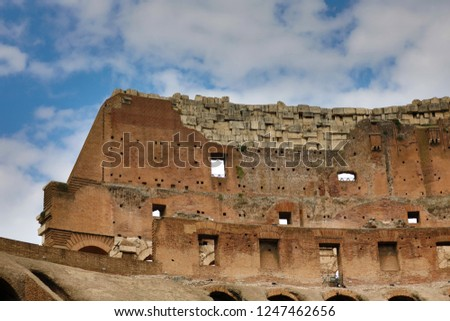 Rome, Italy - October 5, 2018: Inside the Colosseum.Colosseum is the main travel attraction of Roma. #1247462656