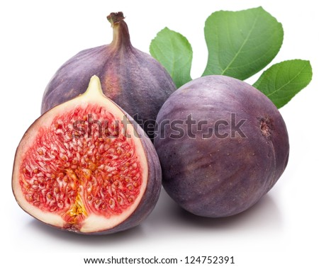 Fruits figs with fig leaves on white background. #124752391
