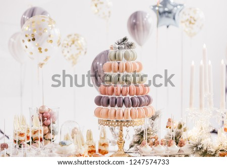 candy bar with balls, macaroon on candy bar, candy bar on holiday, candy bar at the wedding #1247574733