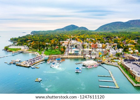 Aerial view of Bar Harbor, Maine. Bar Harbor is a town on Mount Desert Island in Hancock County, Maine and a popular tourist destination. #1247611120