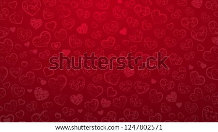 Background of small hearts with ornament of curls, in red colors Royalty-Free Stock Photo #1247802571