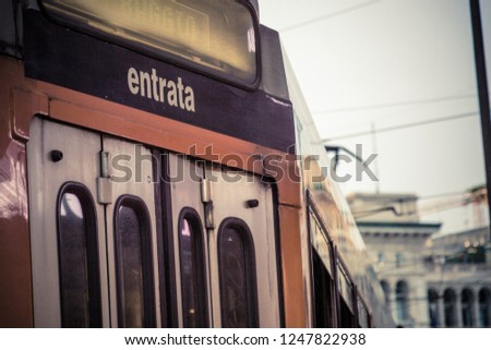 Entrance of a tram in the center of Milan #1247822938