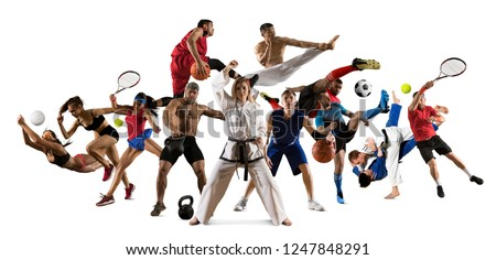 Huge multi sports collage taekwondo, tennis, soccer, basketball, football, judo, etc #1247848291