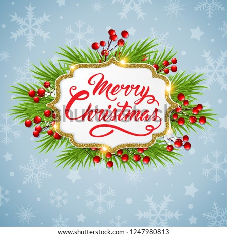 Vector Christmas background with fir branch and golden glittering frame. New year greeting card. Merry Christmas lettering #1247980813