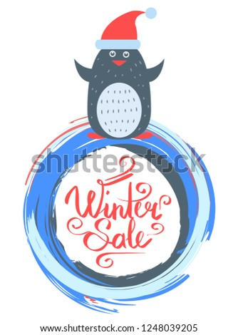 Winter sale poster with penguin wearing santa claus red hat raster illustration isolated on white in Christmas and New Year sales concept, greeting card
