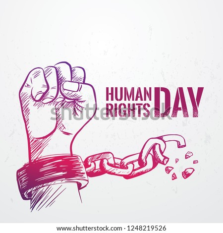 Hand drawn fist raise up breaking chain, Human Rights Day poster grunge texture, vector Illustration Royalty-Free Stock Photo #1248219526