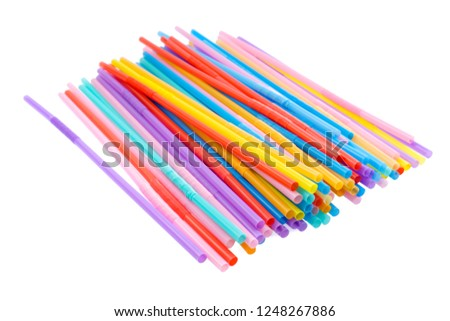 Multi-colored semi-transparent in many shapes straw. #1248267886