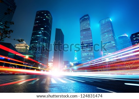 Shanghai Lujiazui Finance and Trade Zone of the modern city night background #124831474