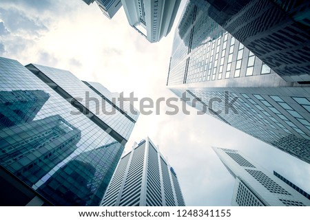 View of modern business skyscrapers glass and sky view landscape of commercial building in central city Royalty-Free Stock Photo #1248341155