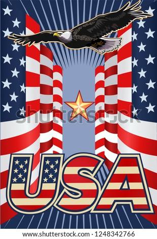 Symbols of the USA. United Stated flag #1248342766