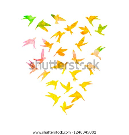 Silhouette of watercolour flying birds on white background. Inspirational watercolor paint trendy body flash temporary sticker template tattoo art. Vector. #1248345082