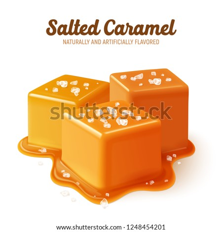 Colored and realistic salted caramel composition with naturally and artificially flavored headline vector illustration Royalty-Free Stock Photo #1248454201