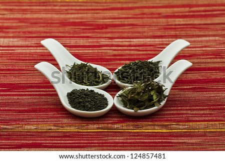 Assorted green tea in spoons #124857481