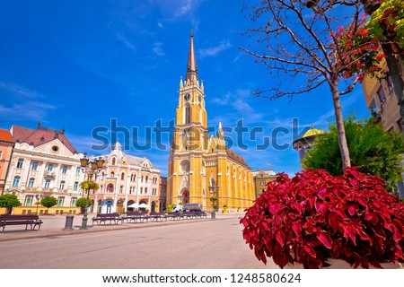 Freedom square and catholic cathedral in Novi Sad view, Vojvodina region of Serbia #1248580624