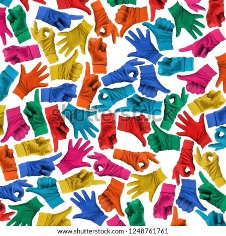 Colorful Background made with Multi Hands Signs #1248761761