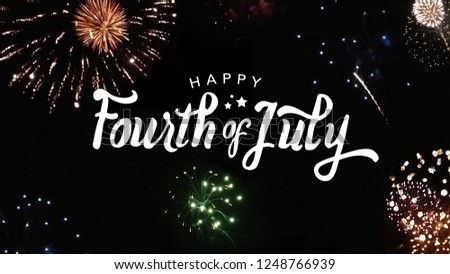 Happy Fourth of July Typography with Fireworks in Night Sky #1248766939