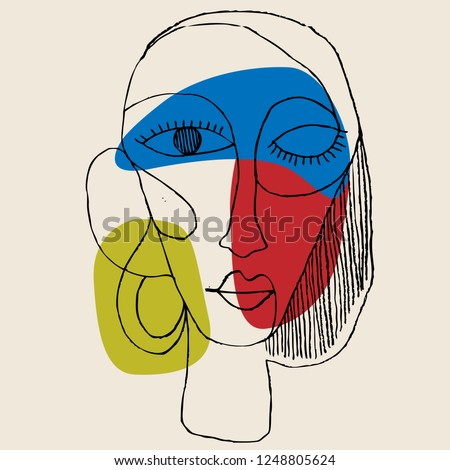 Portrait a woman with earring in modern abstract style. Hand drawn vector illustration for your contemporary fashion design.
