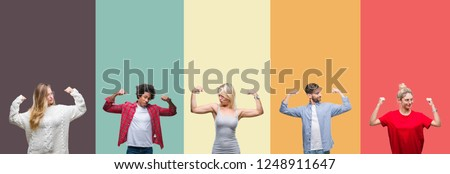 Collage of group of young people over colorful vintage isolated background showing arms muscles smiling proud. Fitness concept. #1248911647